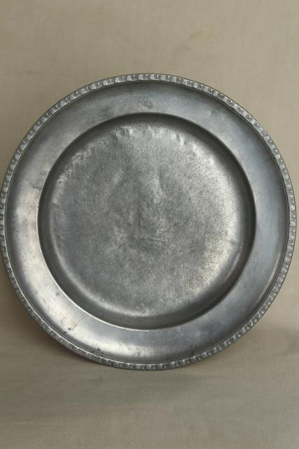 Vintage English Pewter Plates Round Trays Old Silver