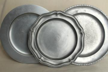 vintage English pewter plates / round trays, old silver color metalware