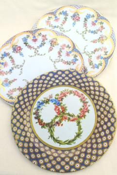 vintage English tin metal plates w/ antique French Sevres china patterns