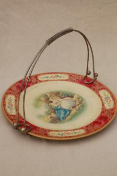 vintage English tin tray, Baret Ware litho print metal serving plate w/ wire handles