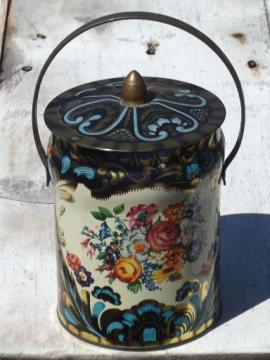 vintage English toleware tin, metal sweets canister w/ pail handle
