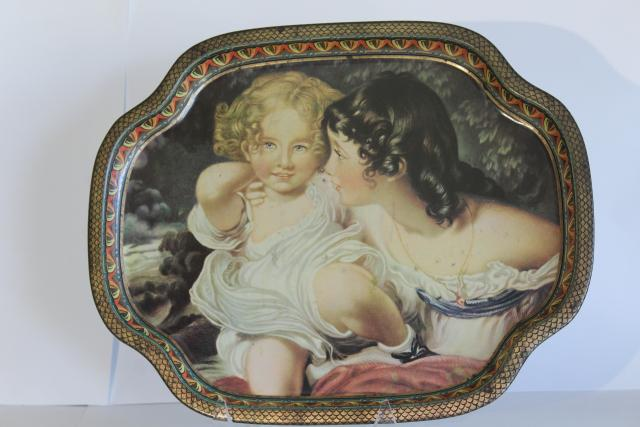 vintage English toleware tray, Victorian art reproduction tin metal tray Elite London