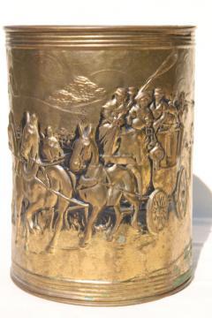 vintage English tooled brass wastebasket, embossed Regency scene coach & horses