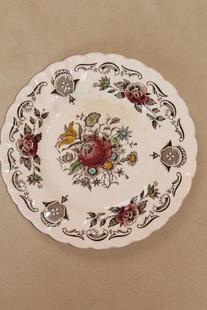 vintage English transferware china plates, Myott's Bouquet multicolored floral