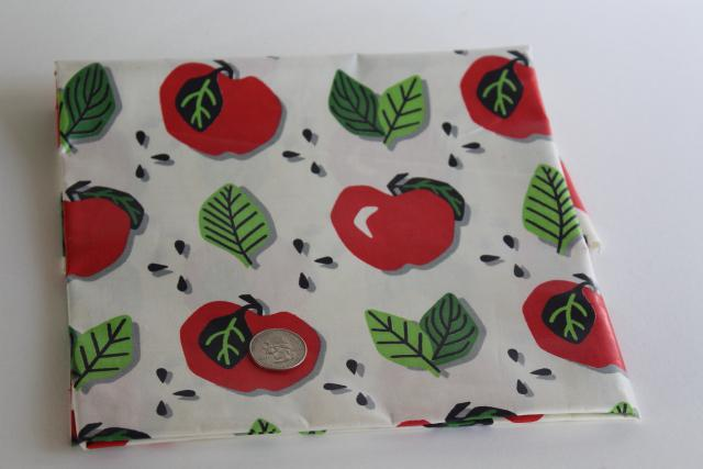 vintage Everglaze cotton chintz fabric, red apples print on white