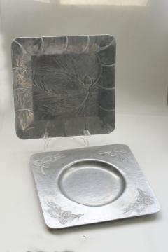 vintage Everlast wrought metal trays w/ pine branch & pinecones, hammered aluminum