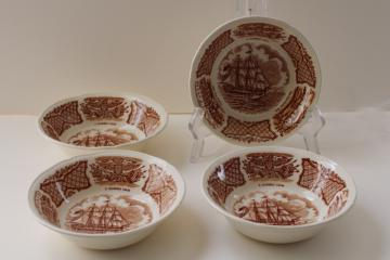 vintage Fair Winds Alfred Meakin china fruit bowls w/ tall ships historic scenes