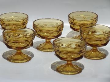 vintage Fairfield pattern amber glass sherbet bowls or ice cream dishes