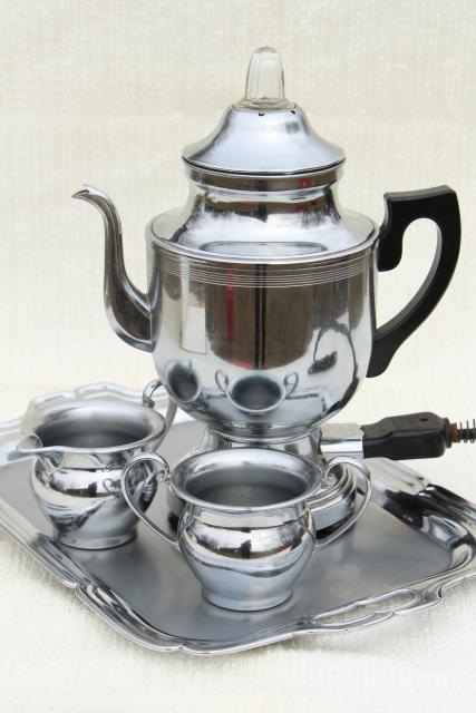 Vintage Farberware Deco Chrome Coffee Set Electric