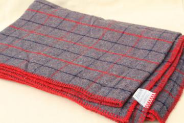 vintage Faribo acrylic blanket, stadium plaid camp bunk blanket, red navy grey