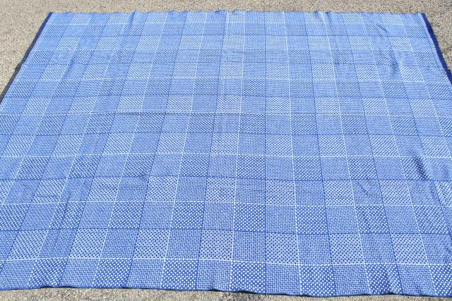 vintage Faribo blanket, blue & white checked squares woven wool bed blanket