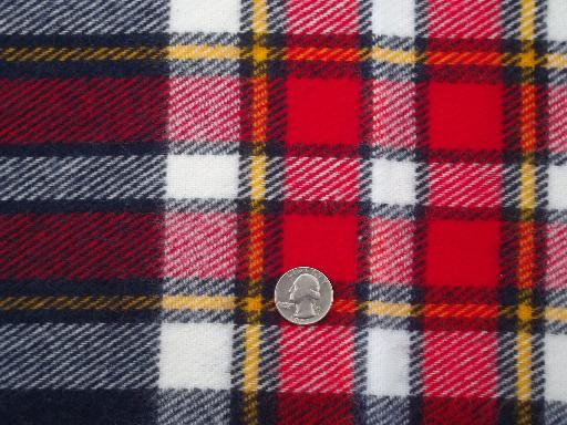 vintage Faribo camp blanket throw, soft acrylic red, blue & gold plaid