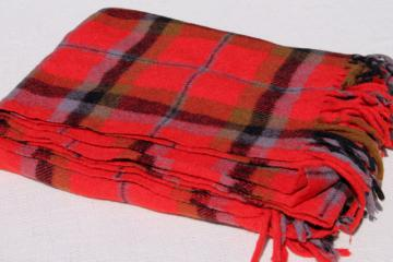 vintage Faribo fuzzy wool stadium blanket, retro camp red tartan plaid throw