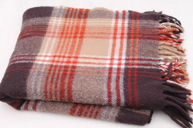 Vintage Faribo Plaid Blanket Russet Orange Tan Brown Cozy Throw Inspiration Cheap Plaid Throw Blanket
