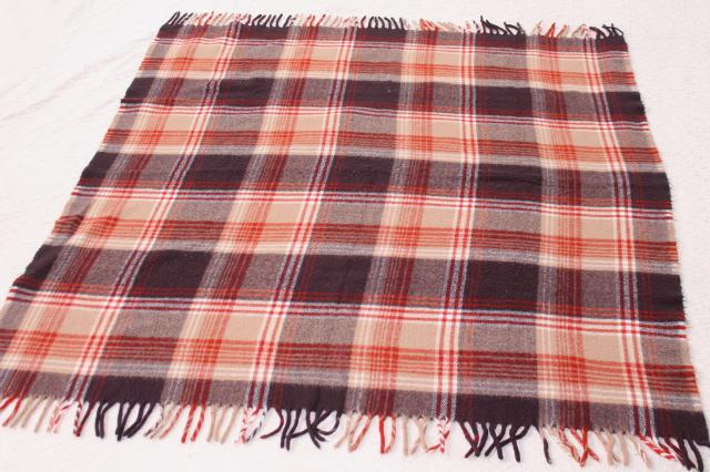 vintage Faribo plaid blanket, russet orange, tan, brown - cozy throw for fall