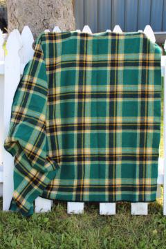 vintage Faribo wool camp blanket, plaid green gold black stadium blanket or throw