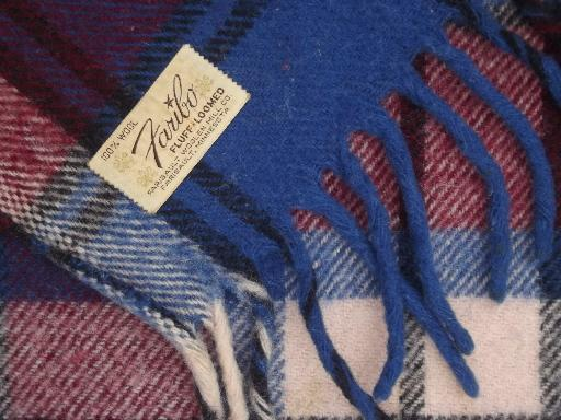 vintage Faribo wool camp blanket throw, blue & wine plaid wool blanket