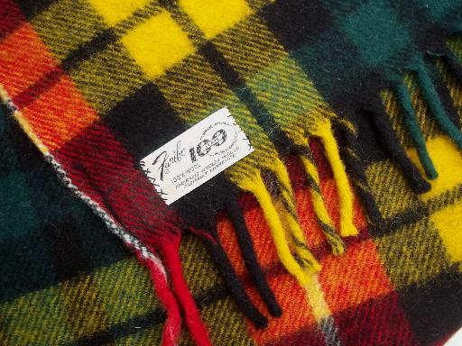 vintage Faribo wool camp blanket throw, gold red green plaid wool blanket