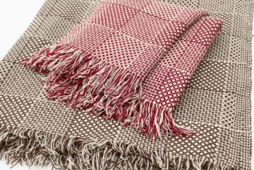 vintage Faribo wool throw blanket lot, primitive brown & cream, barn red