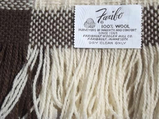 vintage Faribo woven wool throw / camp blanket brown & natural cream wool