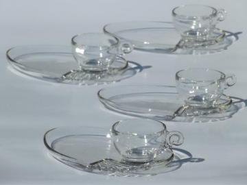 vintage Federal Columbia pattern glass snack sets or luncheon sets for 4