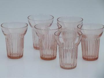 vintage Federal glass pink depression ribbed tumblers, set of 6 glasses