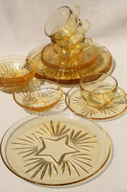 vintage Federal glass star pattern dishes yellow amber glass dinner plates cups \u0026 saucers bowls & vintage Federal glass star pattern dishes yellow amber glass dinner ...