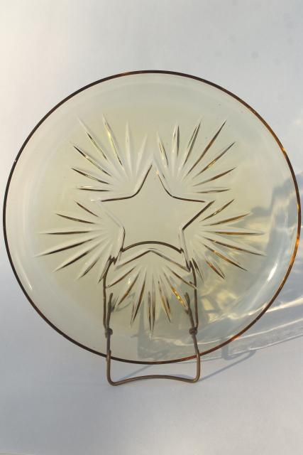 vintage Federal glass star pattern glass cake plate, amber yellow depression glass