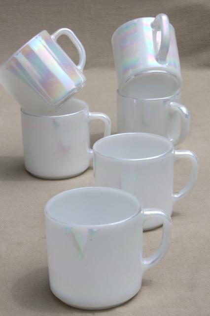 vintage Federal heat proof milk glass coffee mugs, moonglow opalescent luster set six cups