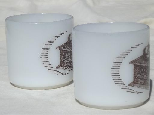 vintage Federal oven proof glass coffee mugs w/ Moorman's advetising