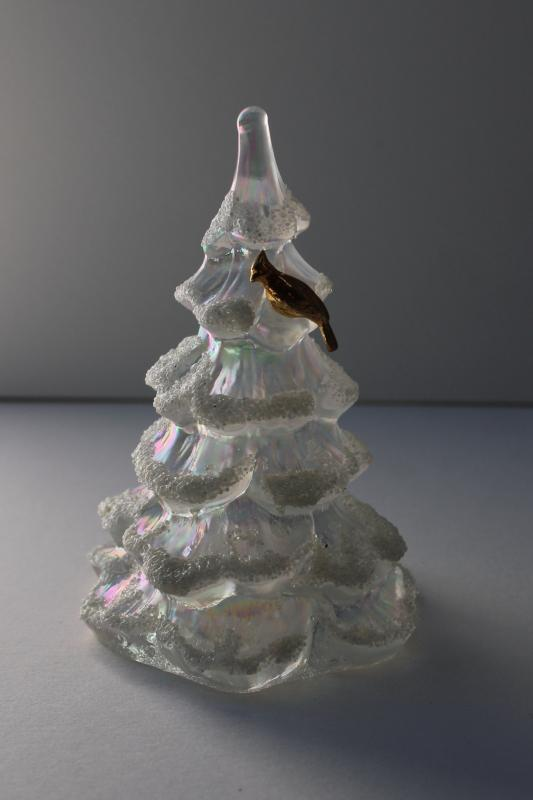 vintage Fenton Christmas tree w/ flocked snow, opalescent luster glass w/ gold bird
