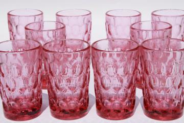 vintage Fenton Colonial pink thumbprint pattern glass, set of 10 juice glasses tumblers