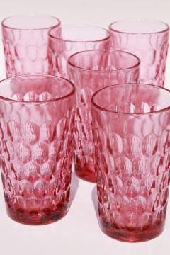 vintage Fenton Colonial pink thumbprint pattern glass, set of 6 large flat tumblers