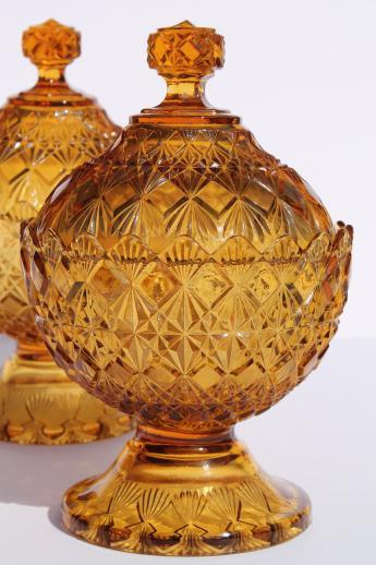 Vintage Fenton Olde Virginia Diamond Fan Amber Glass