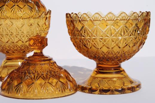 vintage Fenton Olde Virginia diamond fan amber glass compote bowls or candy boxes