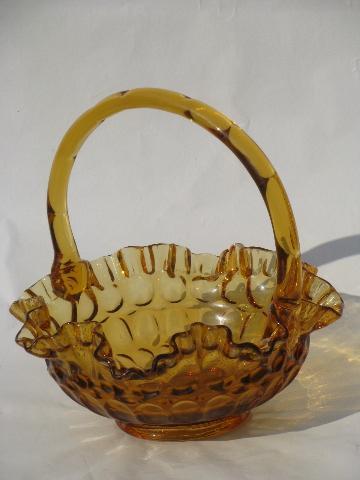 Vintage Fenton Amber Glass Thumbprint Bride S Basket Old