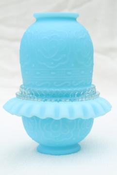 vintage Fenton blue custard satin frosted glass fairy light candle lamp, Persian Medallion