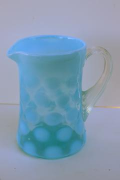vintage Fenton blue opalescent coin dot spot pattern glass pitcher or creamer
