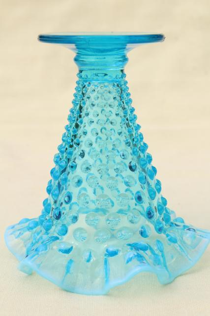 vintage Fenton blue opalescent glass, hobnail pattern crimped glass