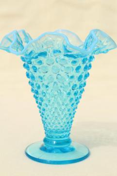 vintage Fenton blue opalescent glass, hobnail pattern crimped glass