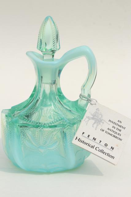 vintage Fenton cactus pattern cruet, green opalescent glass bottle & stopper