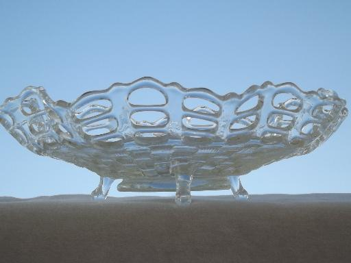 Favorite vintage Fenton clear pressed glass lace edge basket weave footed bowl WI46
