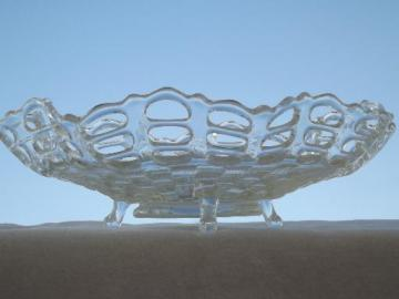 vintage Fenton clear pressed glass lace edge basket weave footed bowl
