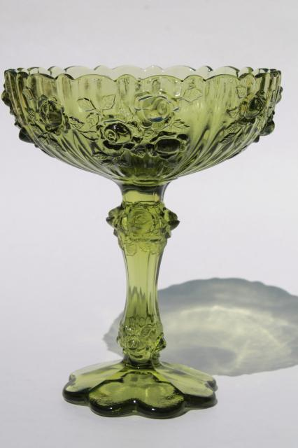Vintage Fenton Colonial Green Glass Rose Compote Bowl