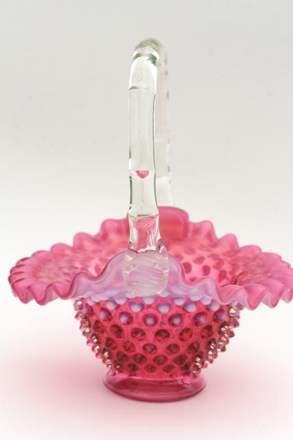 Vintage Fenton Cranberry Opalescent Glass Brides Basket