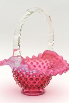 vintage Fenton cranberry opalescent glass brides basket, hobnail pattern glass
