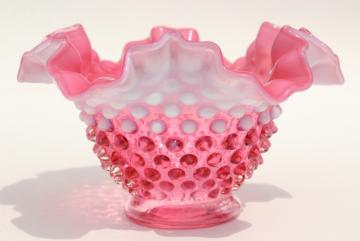 vintage Fenton cranberry opalescent hobnail glass bowl w/ crimped ruffle