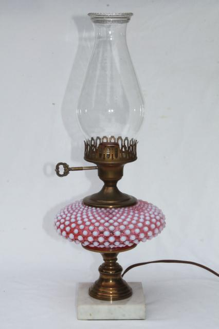 Vintage Fenton Cranberry Opalescent Hobnail Glass Table Lamp W/ Chimney  Shade