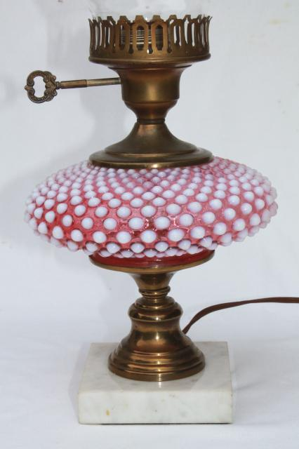 vintage Fenton cranberry opalescent hobnail glass table ...