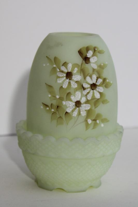 vintage Fenton daisies custard satin glass fairy light, signed hand painted candle lamp